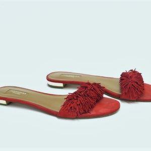 Aquazzura Wild Thing Sandal Red Fringed
